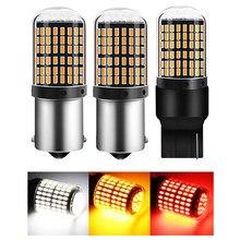 PY21 светодиодный Canbus 1 шт. 1156 BA15S P21W BAU15S лампы 3014 144smd без ошибок T20 7440 W21W светодиодный светильник для поворотов светильник при отсутствии флэш-п...