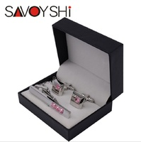 SAVOYSHI Brand 2016 Newest fashion black Tie Pin gift boxes Cufflink box storage box wholesale jewelry paper box