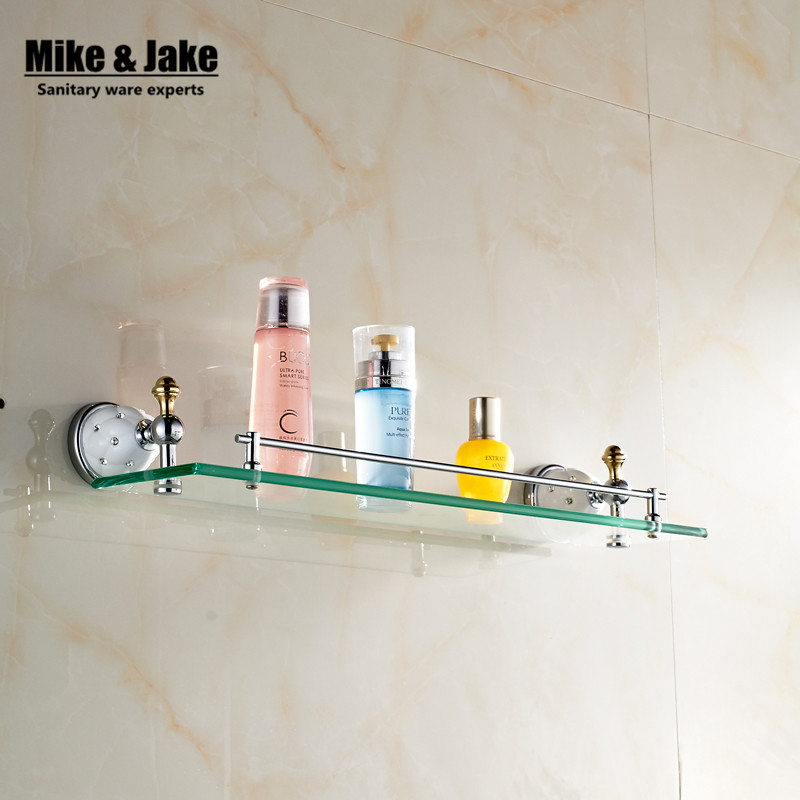 купить Bathroom Accessories Solid Brass chrome Finish glass shelf With Tempered Glass,Single Glass Shelf bathroom shelf MC67213 недорого