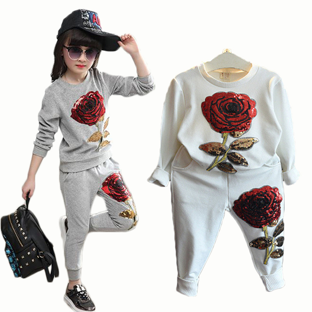 Girls Clothing Sets 2016 Winter Wool Sportswear Long Sleeve Rose Floral Embroidered Sequinsets Kids Clothing Sets 3 colors