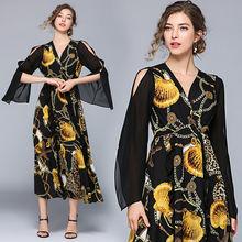 Женское Повседневное платье с длинным рукавом модельное шелковое