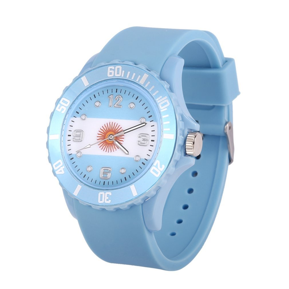 цена на Argentina/Brazilian/Spanish Flag Pattern Unisex Quartz Watch Skublue Color Silicone Strap Wristwatches for Lover