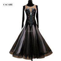 2018 Customized Luxury Rhinestones Ballroom Dance Competition Dresses Standard Dance Dresses Ballroom Dress D0475 Black Sleeve