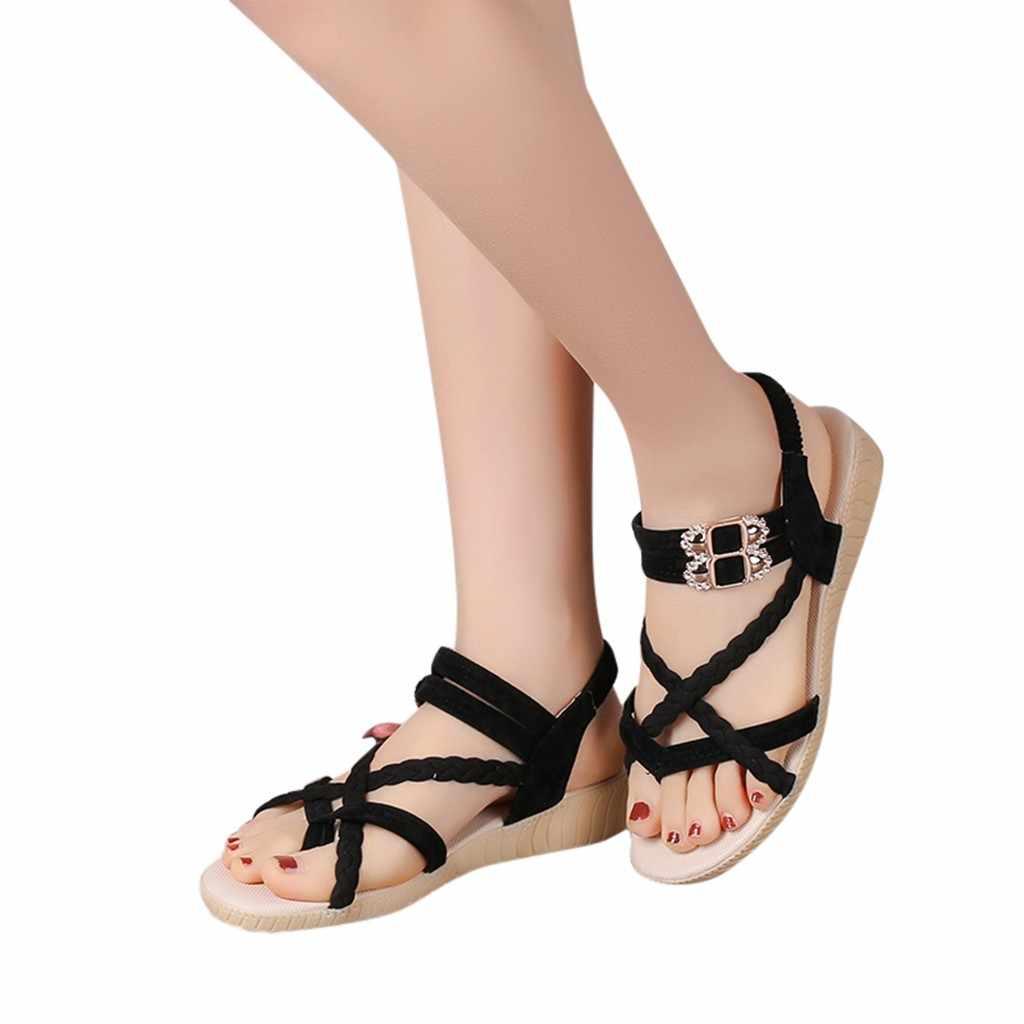 Perimedes Nữ Giày Nữ Pha Lê Thun Nữ Đế Xuồng Gót Kẹo Màu Sắc Nữ Sandal Thời Trang Sandalias Plataforma Mujer 2019