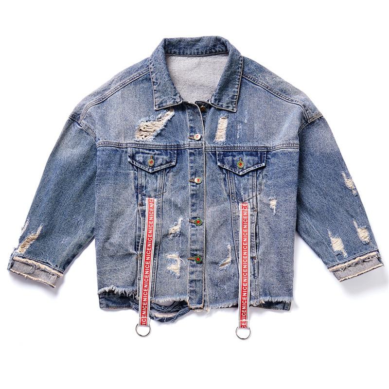 Paillettes Automne Femmes Harajuku Streetwear Base Trou Patch Femelle Blue De Denim Lâche Jeans Designs Mode Manteau Veste qtqpS0w
