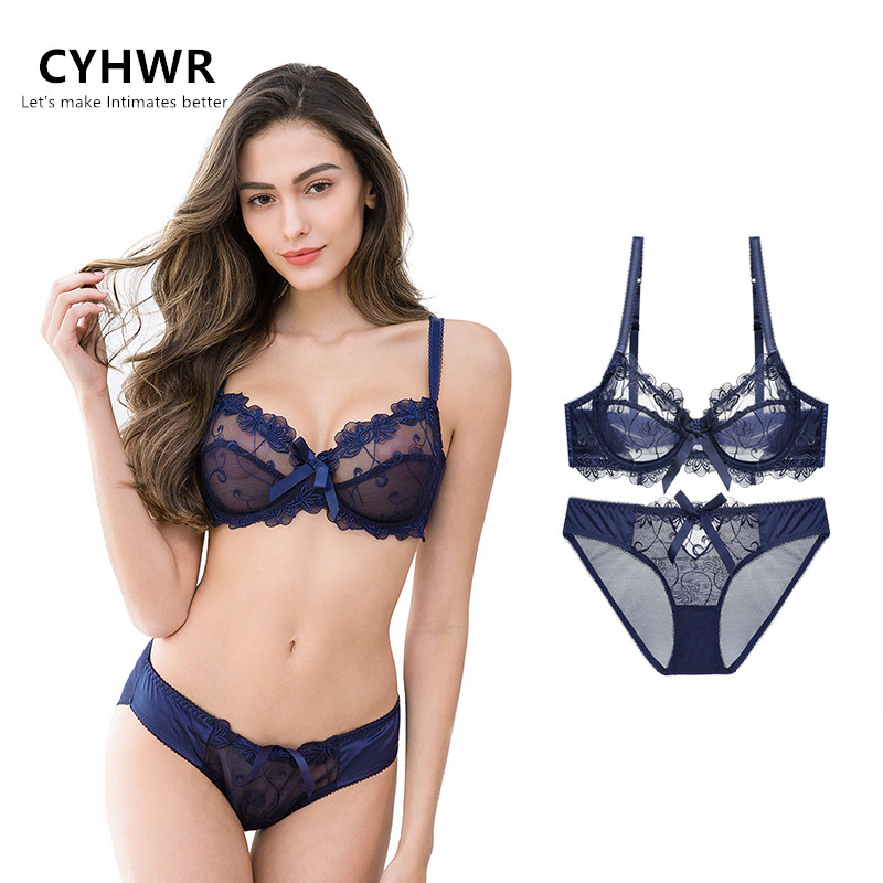 CYHWR Women Sexy Ultra Thin 3/4 Cup   Bra     Set   Transparent Lace Floral Embroidery Underwear   Bra   &   Brief     Sets