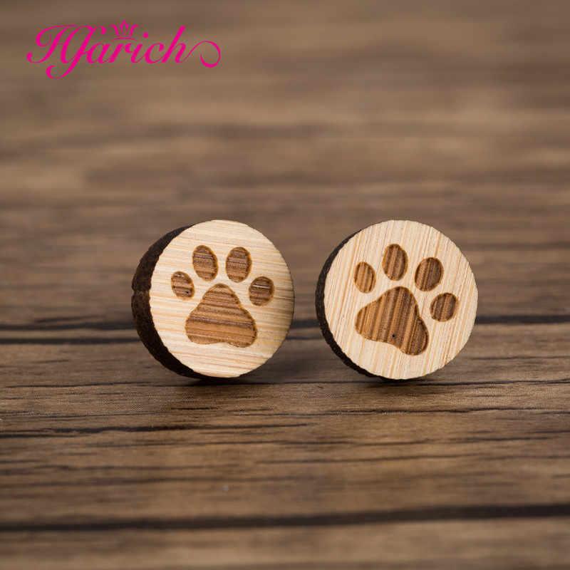 Hfarich Gỗ Đơn Giản Bông Tai Đinh 2019 Động Vật Dễ Thương Bông Tai Bèo Nữ Hoạt Hình Mèo Bông Tai Nhiều Phong Cách Trẻ Em Bé Gái Quà Tặng