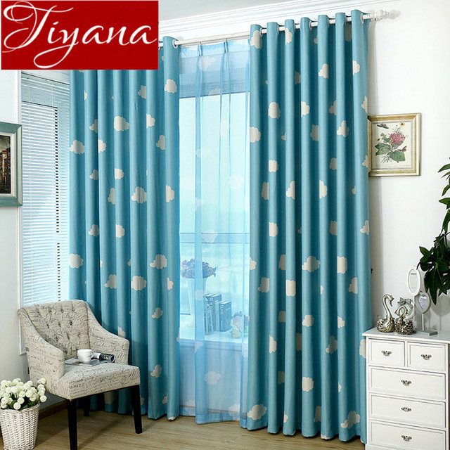 Cloud Curtain For Kid Baby Room Window Bedroom Print Voile Cartoon Sheer Fabrics Drapes Blue Modern