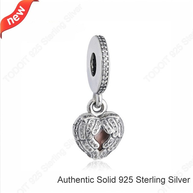 100% 925 Sterling Silver Angel Wings Love Heart Clear CZ & Pink Enamel Dangle Bead Charm Fit Pandora Bracelets Necklaces Jewelry