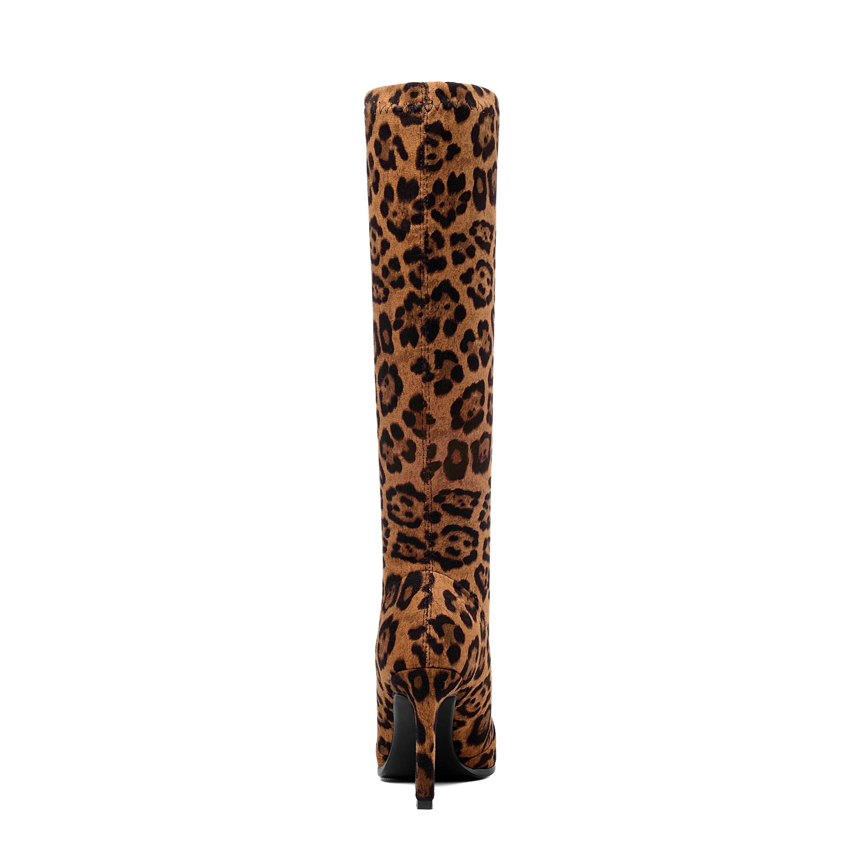 Marke Design Spitz Stiletto Ferse Stretch Knie Stiefel Frauen 2019 Sexy Leopard Print Kleid Party Stiefel Frau Faux Wildleder stiefel