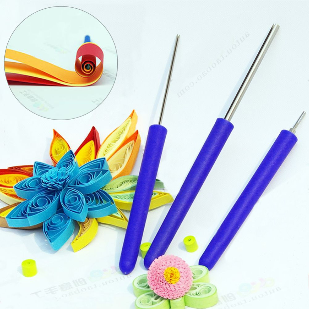 3pcs set quilling paper tool slotted paper rolling pen diy for Quilling paper craft
