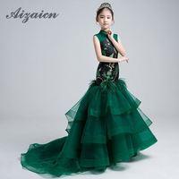 Детское китайское платье принцессы для девочек, женские вечерние платья со шлейфом, Длинное Элегантное платье Ципао