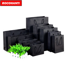 50PCS 250grams Black Cardboard Paper Bag with String for Shopping Clothing Custom Logo Printed accept F2122