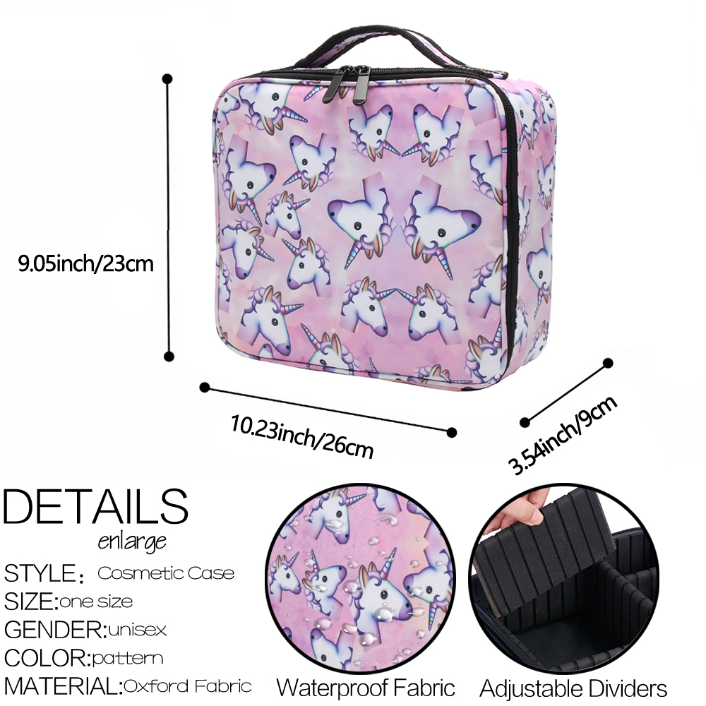 Image 4 - Deanfun Unicorn Makeup Case Multifunctional Cosmetic Bag Travel Organizer Train Cases with Adjustable Dividers 16001-in Cosmetic Bags & Cases from Luggage & Bags