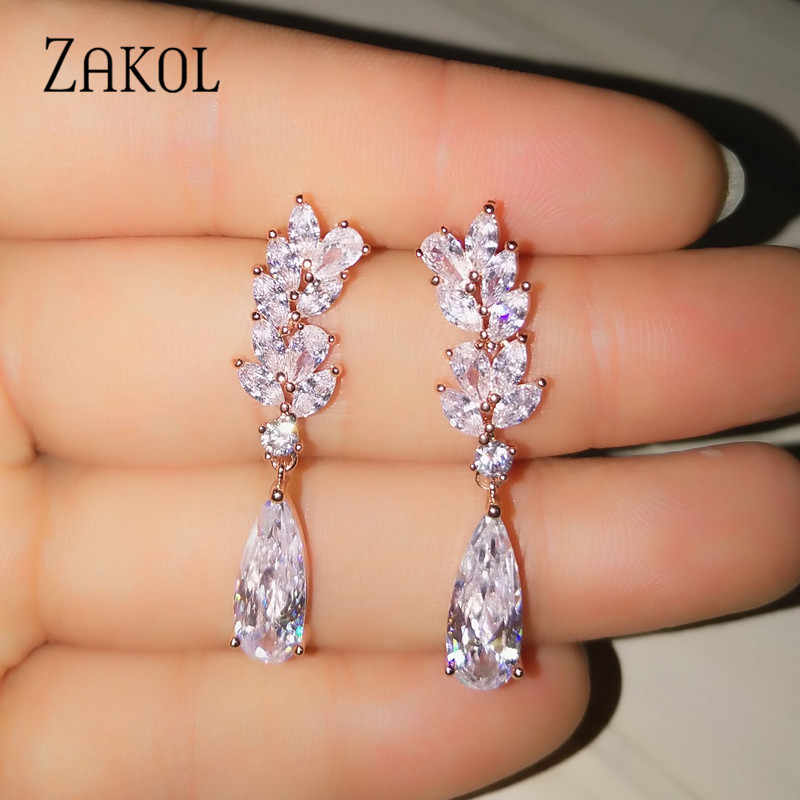 ZAKOL White Color Flower Shape Zircon Water Drop Crystal Pendant Drop Earrings For Women Bridal Wedding Jewelry FSEP50L