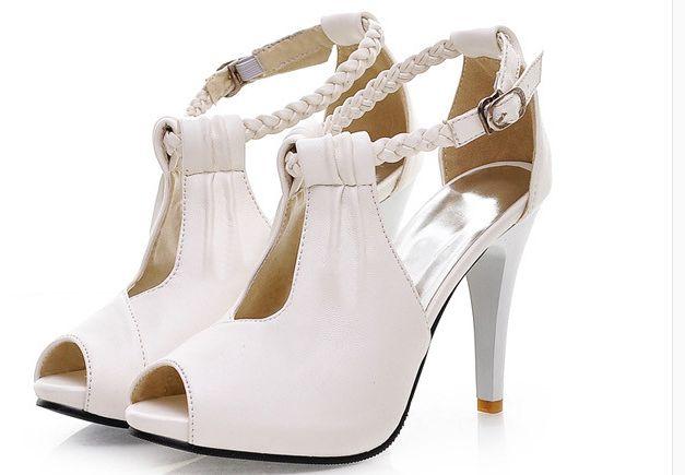 10CM heeled plus sizes summer sandal wedding shoes for woman TG897 black beige ivory white ladies party wedding sandals shoes