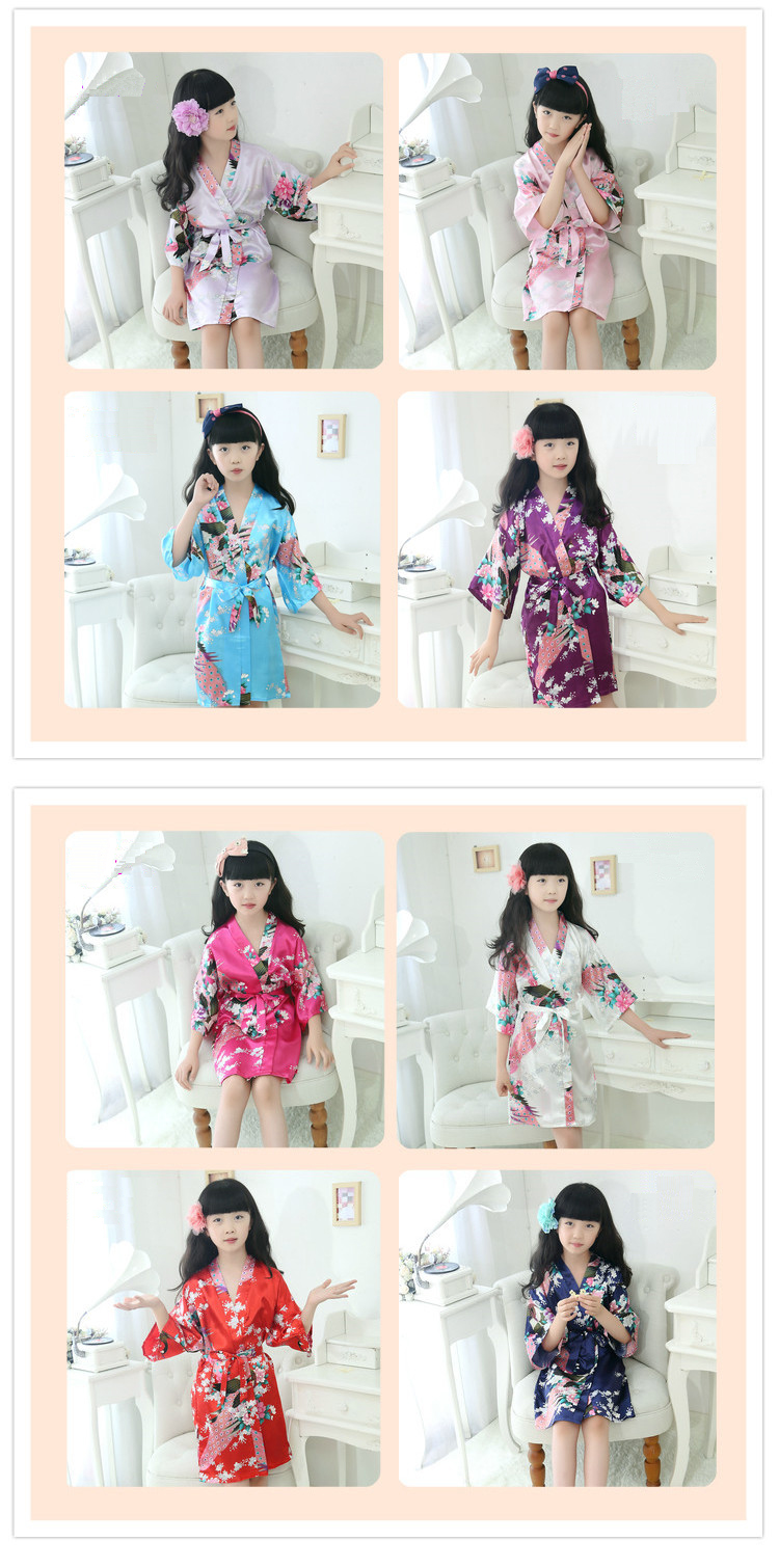 Silk Satin Flower Girls Robes Children Kimono Robe Kids Nightwear Gown Wedding Robes Sleepwear Pyjamas Pijamas