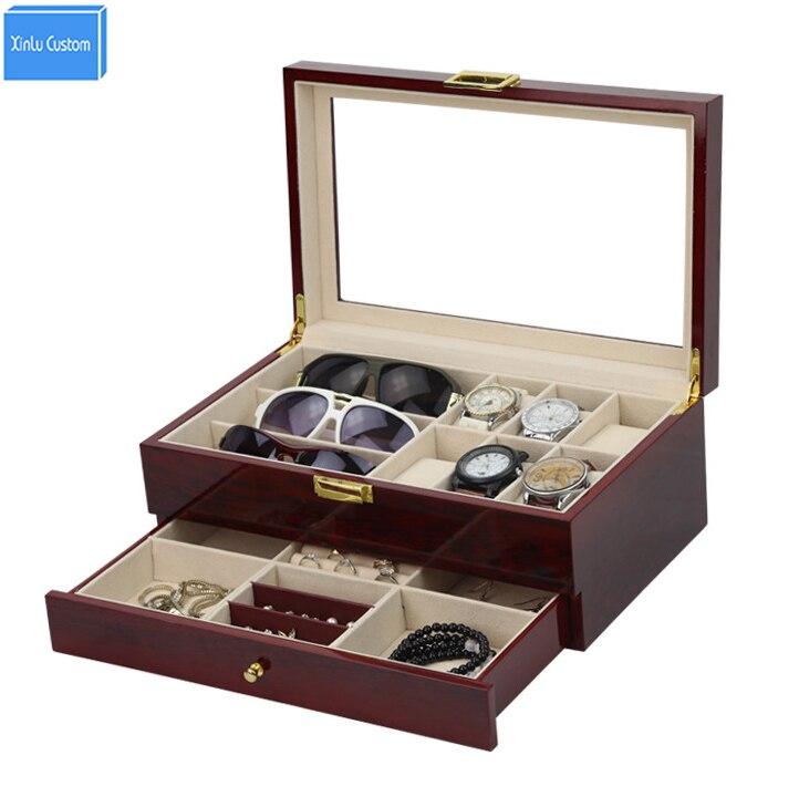 Double couche de luxe stockage montre boîte fentes meilleur cadeau pour les femmes maquillage Rose bois recueillir boîte Vintage boîtier famille boîte de rangement