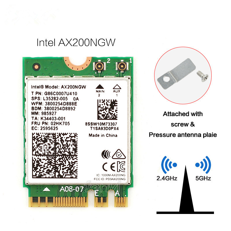1730Mbps Dual Band 802.11ax  Intel Wifi 6 AX200 NGW M.2 Wireless Wlan Wi Fi Card Adapter For Intel AX200 With BT 5.0 MU MIMO