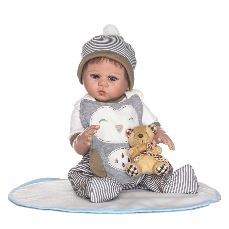 50cm Full Body Silicone Reborn Boy Baby Doll Toy Realistic 20inch Like Real Newborn Babies Doll With Bear Bathe Toy