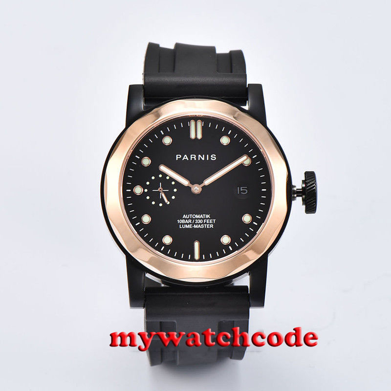 44mm Parnis black dial black PVD case golden plated bezel Sapphire glass ST2555 Automatic Mens Watch 702
