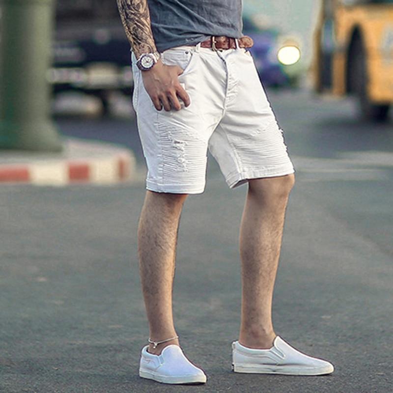 Mens white micro elastic summer denim
