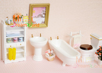 A01 X1200 children baby gift Toy 1:12 Dollhouse mini Furniture Miniature rement white color bathroom 6pcs/set
