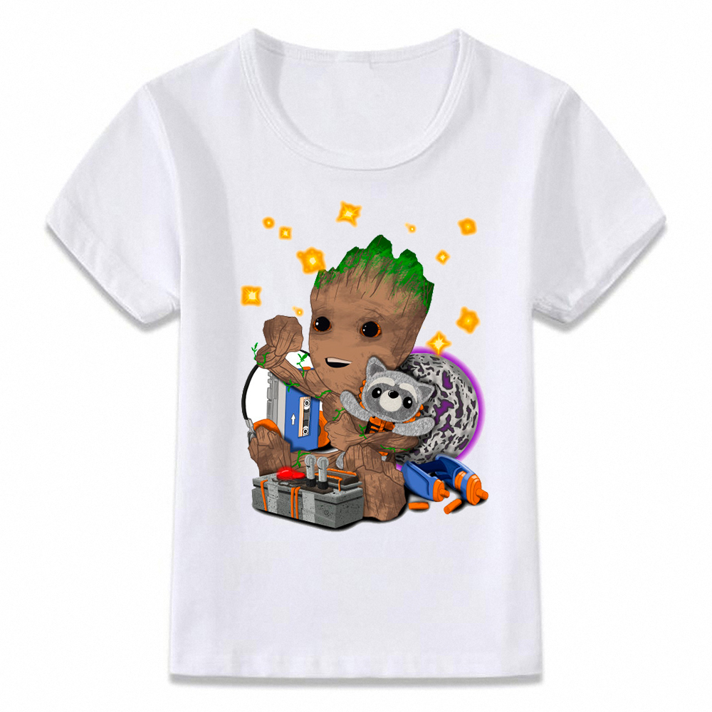 Kids Clothes T Shirt Baby Groot Guardians Of The Galaxy Karaoke With Raccoon T-shirt For Boys And Girls Toddler Shirts Oal240