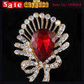 Luxury Statement Golden Big Crystal Glass Rhinestone Flower Bow Bridesmaid Brooch for Women Weddings Party Evening Heart Brooch