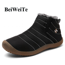 Winter Men Women Snow Walking Shoes Female Ankle Boots With Fur Canvas Waterproof Sneakers For Man Anti-skid Outdoor Sport Shoes