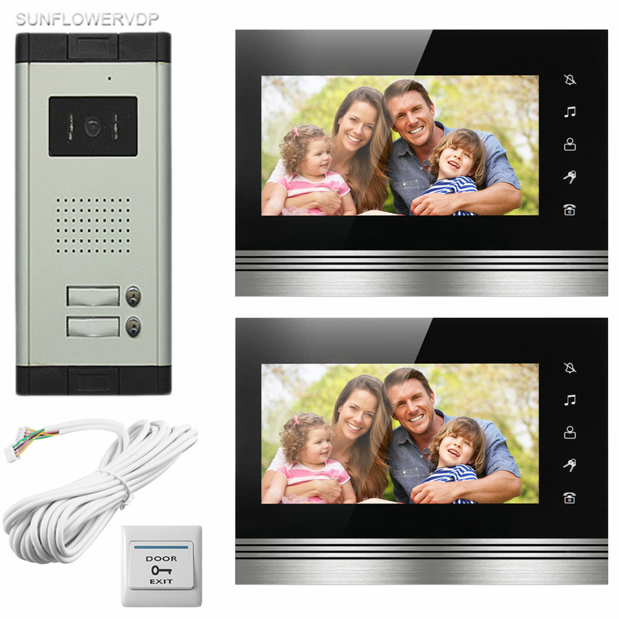 New Video Intercom Touch Keys For 2 Apartments 2 Color 7 Indoor Monitors 700TVL HD Camera With Door Bell Night Vision In Stock 12 keys infared ccd cameras 7 hd 700lines color indoor monitors video door phone intercom system for 2 doors 12 apartments