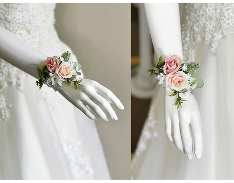 bridal wrist corsage Groom Groomsman boutonniere Brooches rose artificial wedding flower  (12)