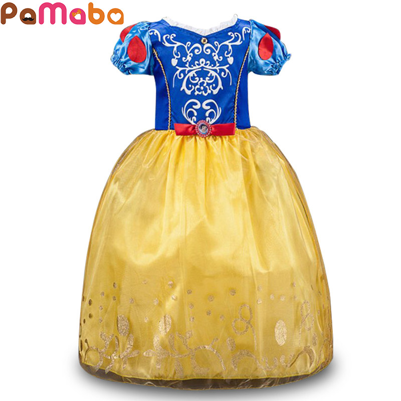 PaMaBa Snow White Girls Cosplay Costume Princess Cinderella Dress-up Children's Halloween Holiday Clothing Kids Party Ball Gown pamaba children comic con cosplay equipment accessories girls mermaid wig halloween princess dress up human hair party supplies