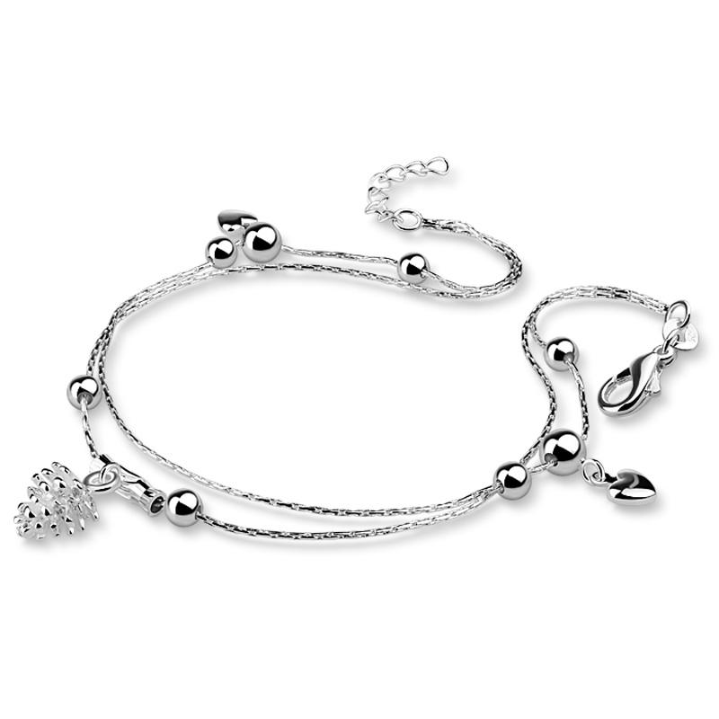 Fashionable woman heart-shaped pendant anklets.Solid 925 sterling silver anklets.Cute girl anklets.Charming lady silver jewelry