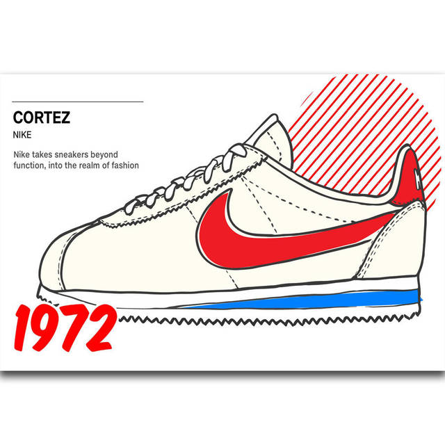 60ad140951a2c4 S1129 Cortez Classic Fashion Shoes Sneaker Forrest Gump Wall Art Painting  Print On Silk Canvas Poster Home Decoration