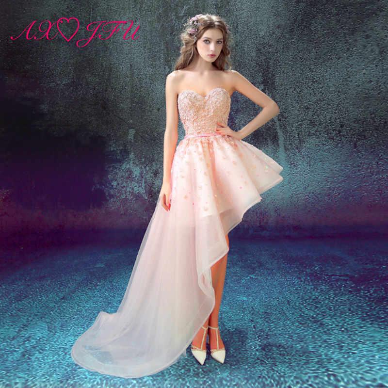 AXJFU สีชมพูลูกไม้สั้นยาวก่อนเจ้าสาวหางชุดราตรีปีใหม่ดอกไม้ beading ชุดราตรี 5730