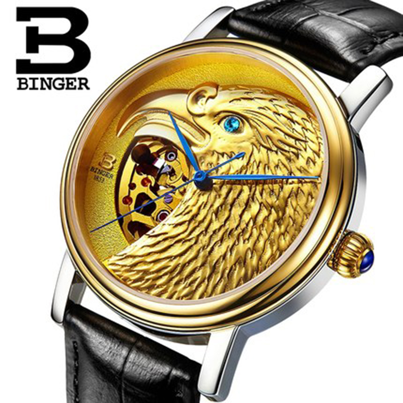 Genuine Luxury BINGER Brand Mens self-wind automatic mechanical watches fashion gold eagle male leather strap table tevise fashion auto date automatic self wind watches stainless steel luxury gold black watch men mechanical t629a with tool