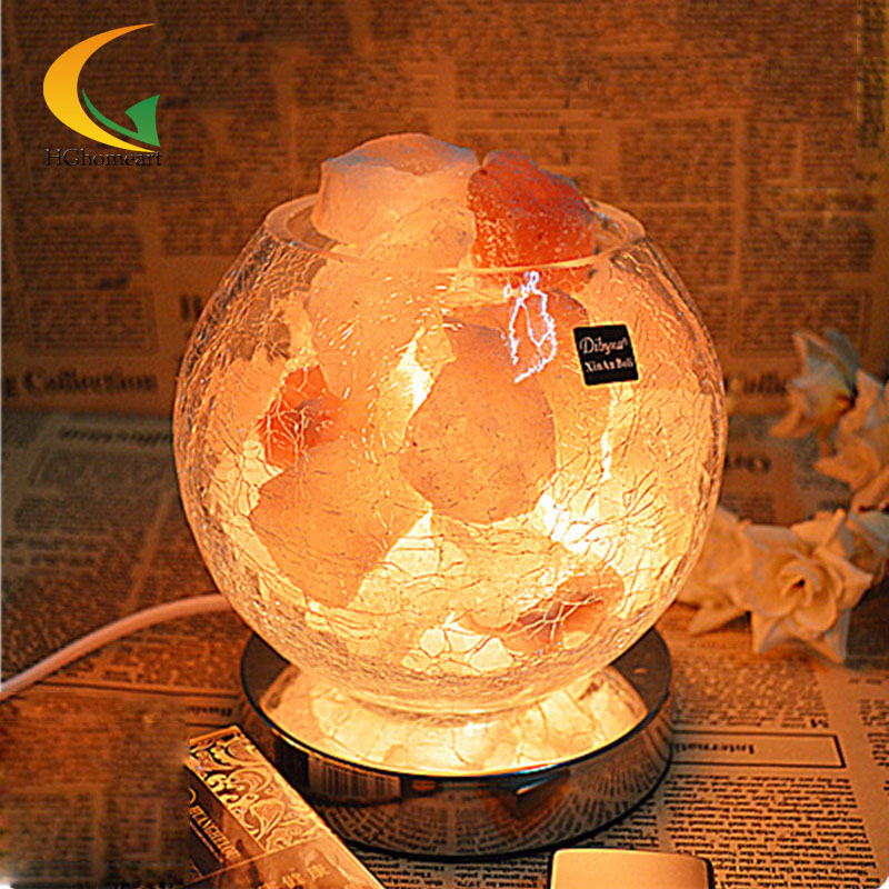110V-220V E17 European retro authentic Himalayan salt crystal lamps air purifying lamp bedside ...