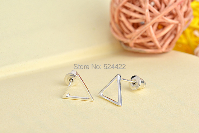 Min 1pc Gold/Silver/Rose gold Hollow Triangle Pattern Stud Earring Tiny Triangle Stud Earrings ED062