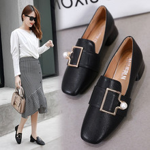 Quality fashion high heels female pu 2020 spring wild thick with mature shallow mouth square head si