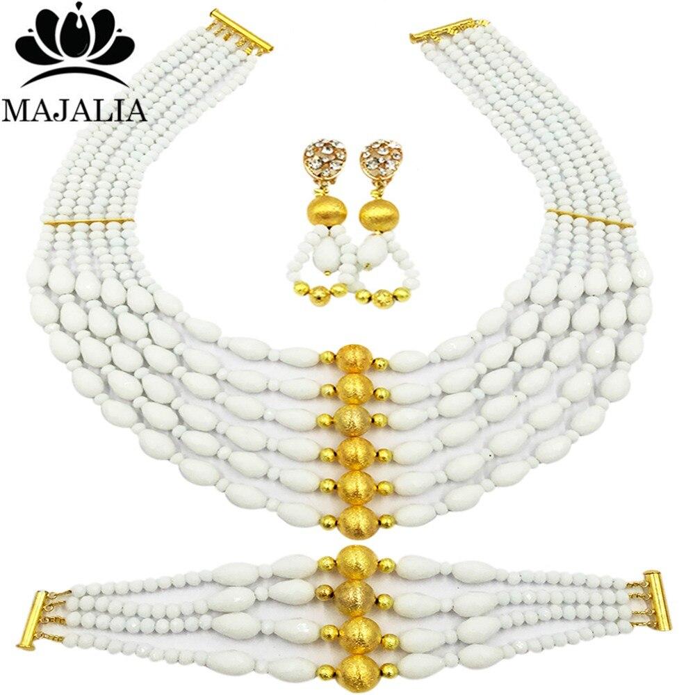 Majalah Classic Nigeria Wedding African Beads Jewelry Set White Crystal Necklace Bracelet Earrings Free Shipping VU020 цена