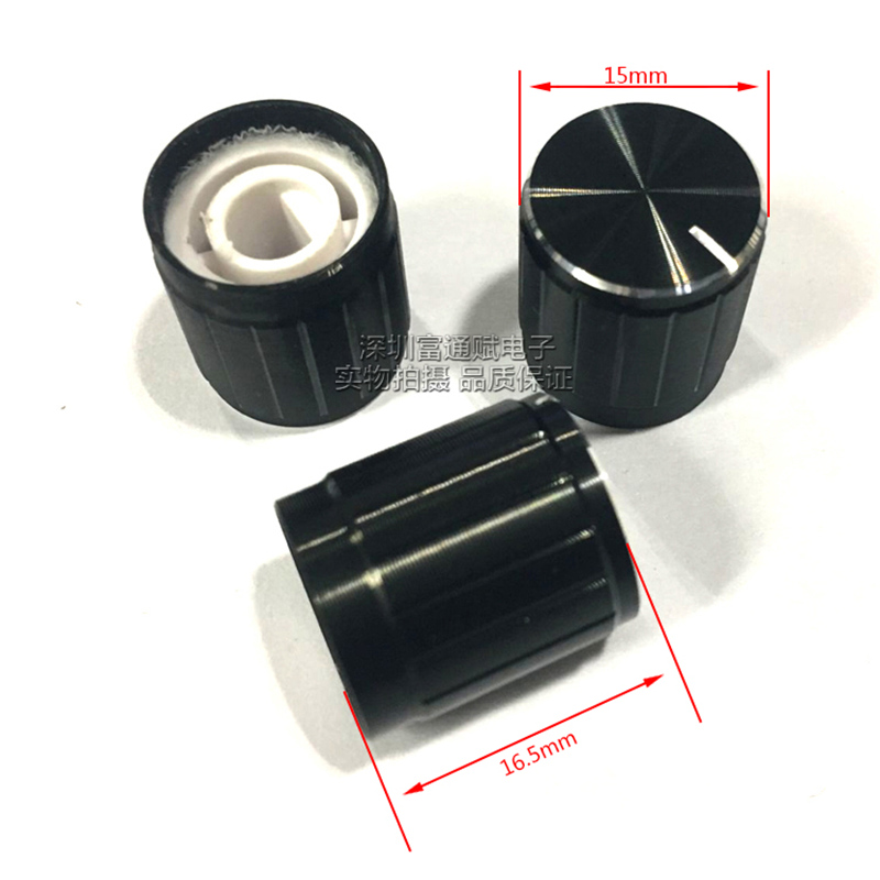 10pcs Potentiometer Cap 15mm*16.5mm Black Bright Edge Half Shaft Hole D-Shaped Inner Hole 6mm Aluminum Alloy Knob
