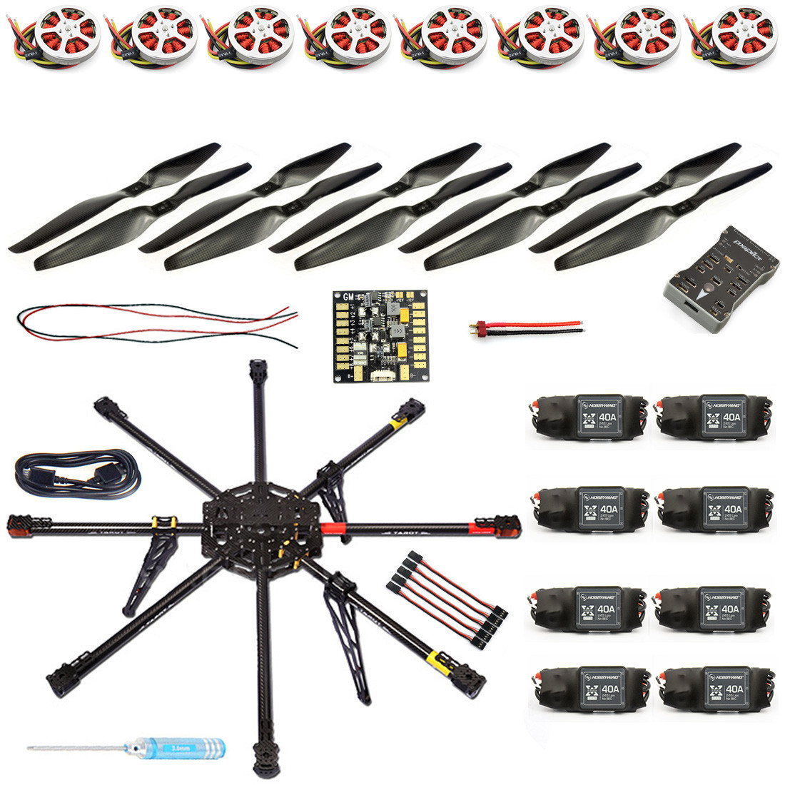 JMT DIY 8-Axle Unassembled RC Drone 1000mm Carbon Octocopter PX4 PIX M8N GPS RC Drone PNF Kit No Remote Battery FPV F04765-B