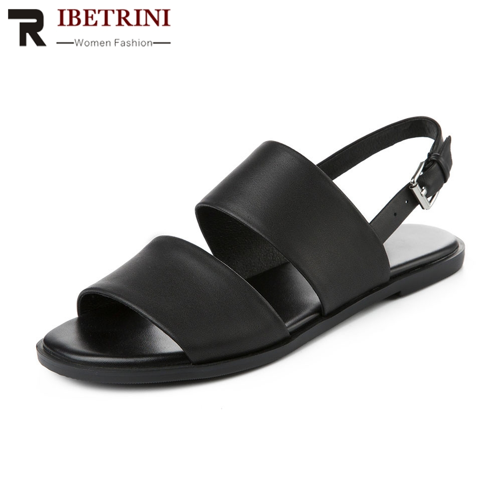 RIBETRINI Brand New Big Size 33-43 womens Genuine Leather Women Shoes Woman Casual Comfortable Summer Sandals Girl ShoesRIBETRINI Brand New Big Size 33-43 womens Genuine Leather Women Shoes Woman Casual Comfortable Summer Sandals Girl Shoes