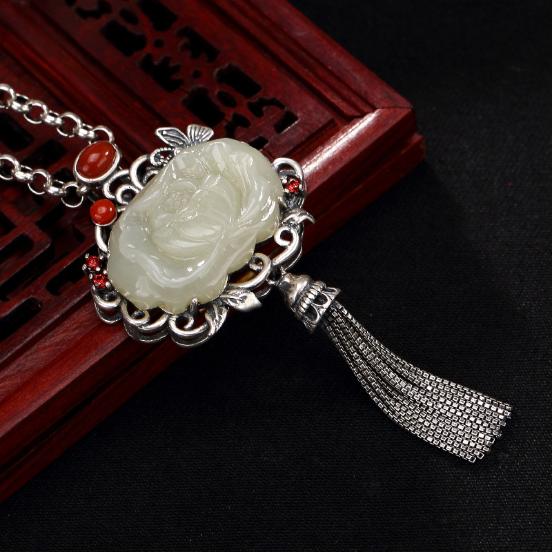silver S925 pure silver antique mosaic and Tian Yu white jade South Red Lotus butterfly tassel lady pendant wholesale