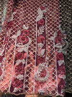 African embroidery french lace fabric with beads Wine red Nigerian lace fabric bridal wedding dubai lace
