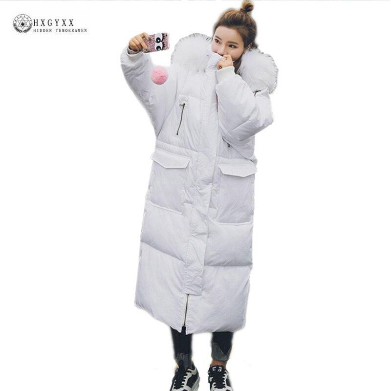 Hot Sale X-Long Down Parka Women New White Fur Collar Straight Outerwear Wadded Winter Jackets Female Warm Cotton Coat OK1130