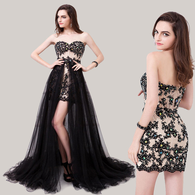 In Stock Real Photo Black Asymmetrical Prom Dresses Lace Appliques ...