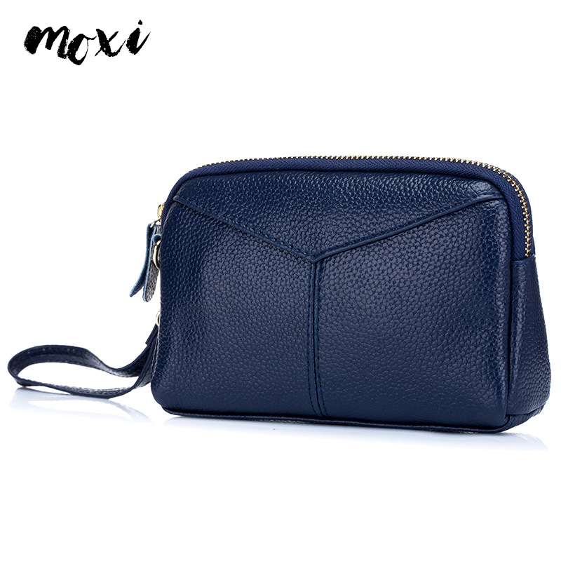 MOXI Wallet Clutch-Bag Zipper Trendy-Style Female Genuine-Leather Womens Phone Natural-Cowhide