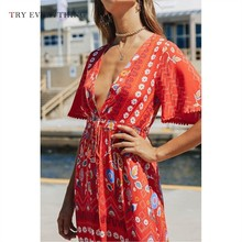 print floral boho dress women summer 2019 deep v neck red sexy dress ruffles ladies short sleeve a line long dresses for women fashionable jewel neck figure floral print short sleeve dress for women